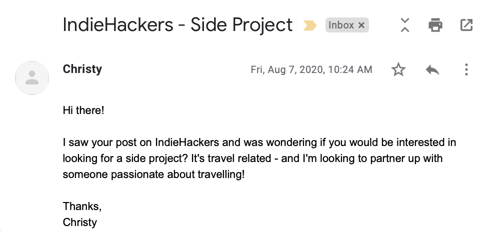 IndieHacker Email